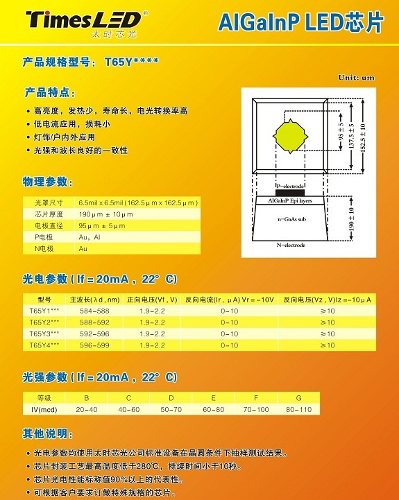 黄光LED芯片