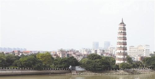 东莞金鳌洲塔将改造成岭南园林特色塔院