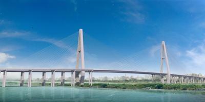 有一座双向四车道的独塔混合梁斜拉桥