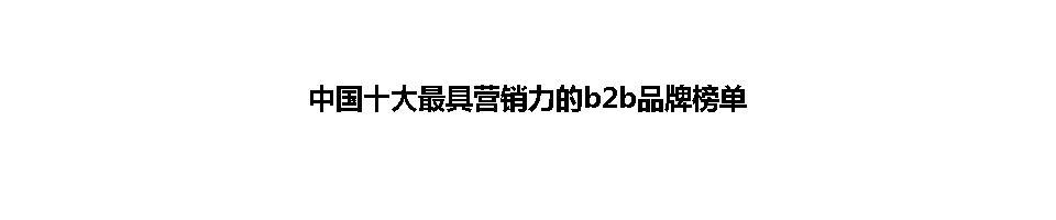 中国十大最具营销力的b2b品牌榜单