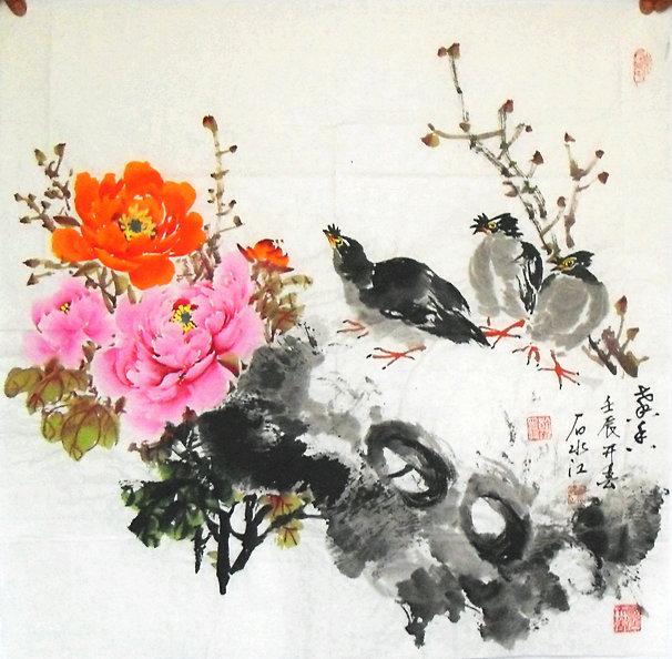 石老师擅长写意花鸟,尤其画写意牡丹