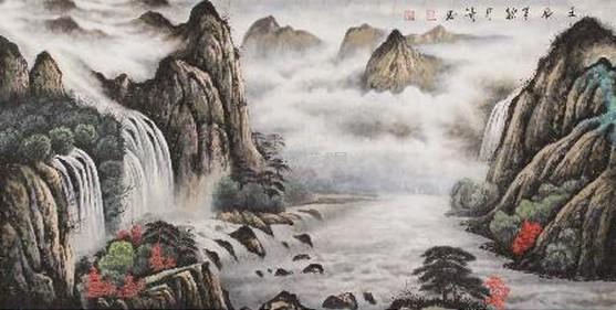 看似淡淡随意的每一笔画出了丛山叠岭,清逸秀丽,洋溢着对山水浓郁的