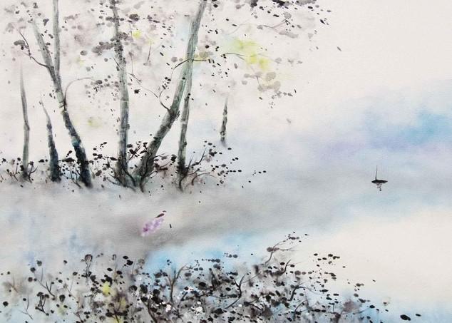 《在路上》 风景油画