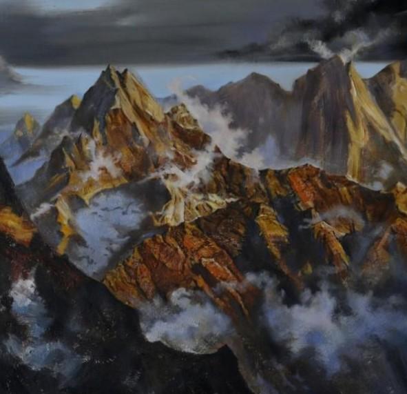 《曙光》 風景油畫