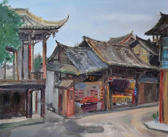 《平樂古鎮》 油畫風景