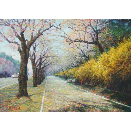 七星门街道的春天_风景油画