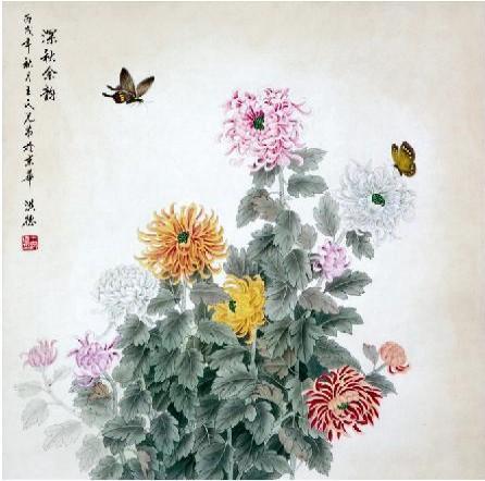 轻妆淡抹绘秋景 我的艺术网王洪德工笔花鸟