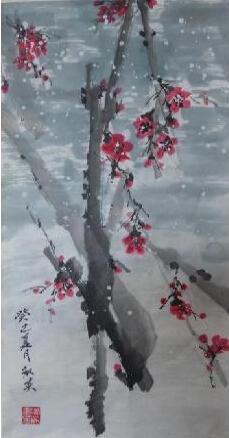 寒梅点缀千重雪 我的艺术网魏淑英国画花鸟
