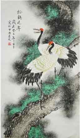 松鹤凌云 福禄满堂 我的艺术网凌雪国画花鸟
