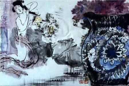 芙蓉出水一笑开 我的艺术网刘维之国画人物