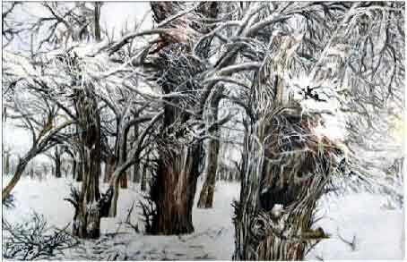 粉妆玉砌只闻雪 我的艺术网车文君风景油画