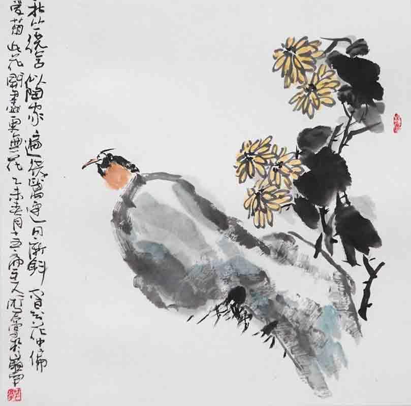 从中国传统的绘画技法入手,在表现形式上,注入现代的审美元素,设色和水的运用恰到好处,深受藏家的好评。