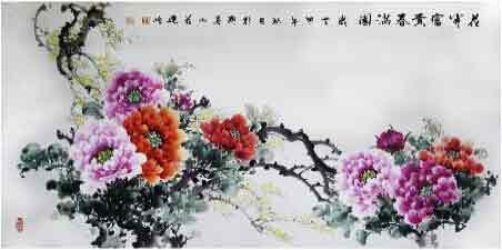 富贵牡丹醉春容 我的艺术网刘建岭国画花鸟