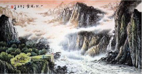 霞辉璀璨碧湖涟 我的艺术网方人也国画山水