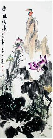 水波荡漾花芳菲 我的艺术网马堪岱国画花鸟