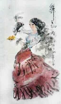 舞尽霓裳飘飘举 我的艺术网孟凡敬国画人物