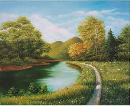 林籁泉韵绿如茵 我的艺术网景军辉风景油画