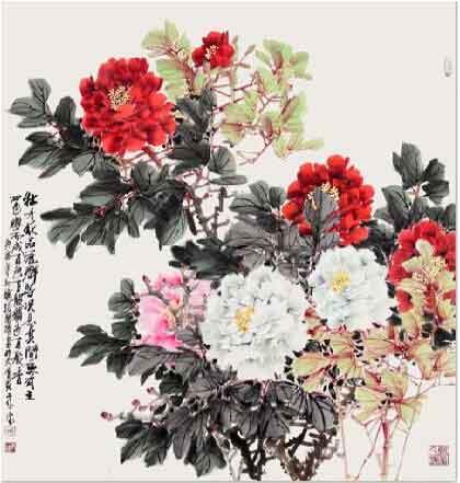 红情绿意满春香 我的艺术网张荣德国画花鸟