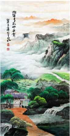 碧水长流青山绿 我的艺术网陈励忠国画山水