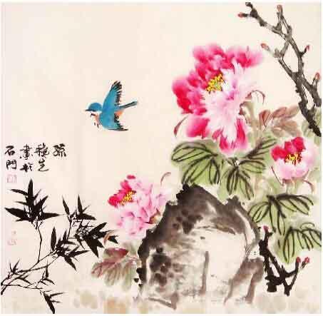 雀之灵舞知花语 我的艺术网孙秋生国画花鸟